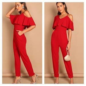 Pants - 🎉BLOWOUT SALE💥🔥One Shoulder Ruffle Jumpsuit
